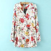fashion flower printed long sleeve V neck blouse casual elegant long shirt 2016 new spring women blusas#Q762(China (Mainland))