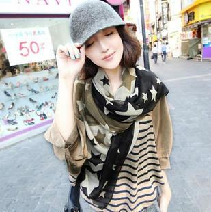Новый британский стиль зима женский бархат шифоновый шарф контрастного цвета звезд джокер шарф шелковые шарфы ожерелье W1015