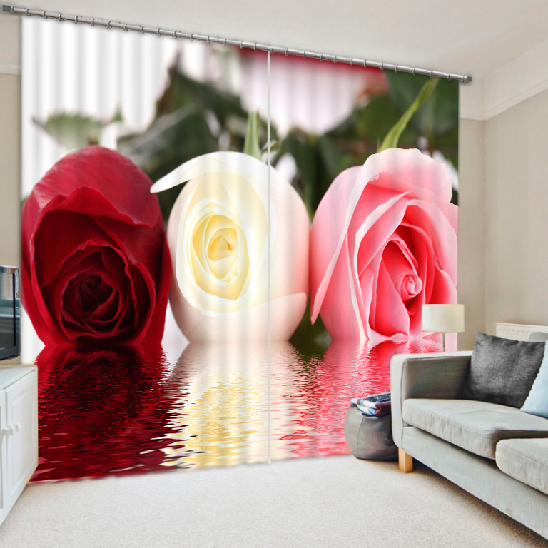 Reflection color roses personalized digital 3D graphic arts blackout curtains finished(China (Mainland))