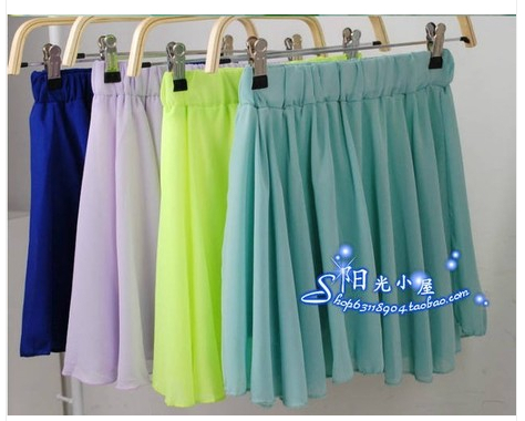 Sales! Chiffon Skirts Girls Womens Ladies Candy colors Patterns Maxi High waist Pleated Skirt Ethnic Vintage - love0136 store