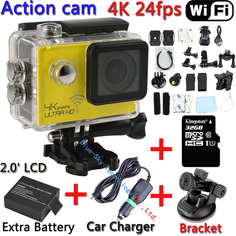 Sj8000 wi-fi новатэк 96660 H.264 Full HD настоящее 4 К 24fps ультра-hd 16MP спортивная видеокамера действия мини видеокамера Dvr p @ 60fps