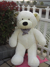 new lovely plush teddy bear toy big eyes bow bear toy stuffed white teddy bear gift 100cm