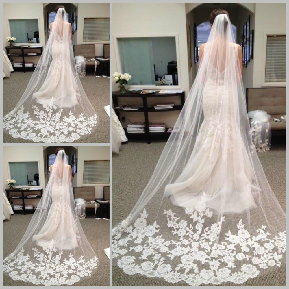 Hot sale 2015 fast delivery wedding veils long elegent for Wedding dresses and veils
