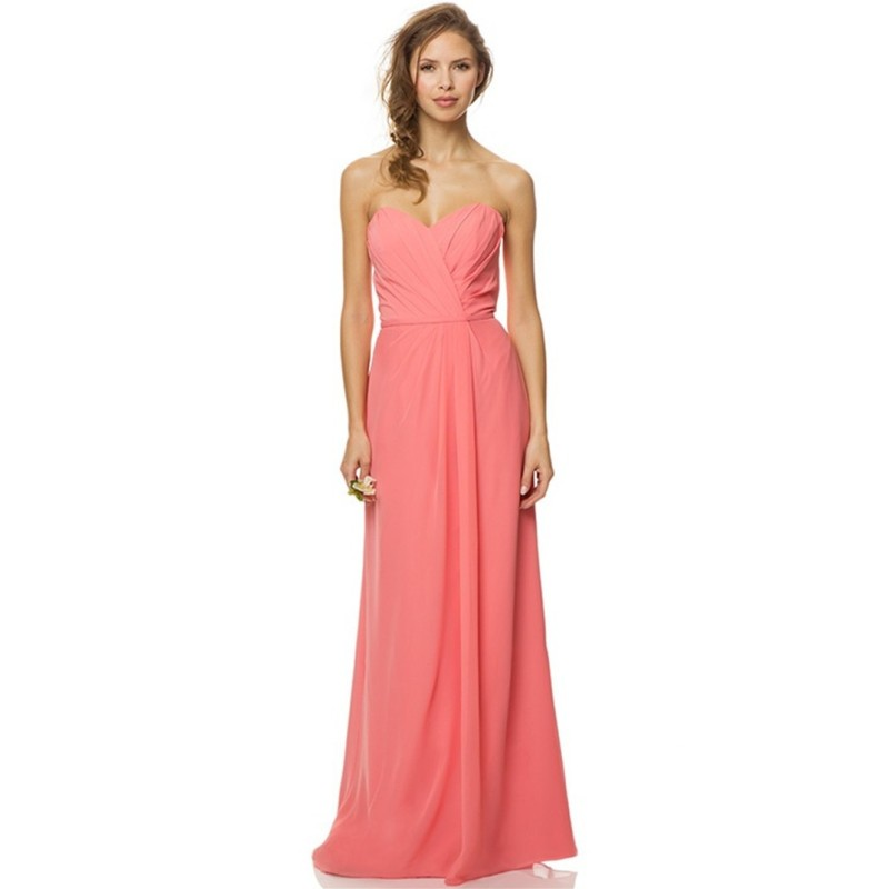 Cheap 2015 pink long bridesmaid dresses chiffon floor for Cheap chiffon wedding dresses