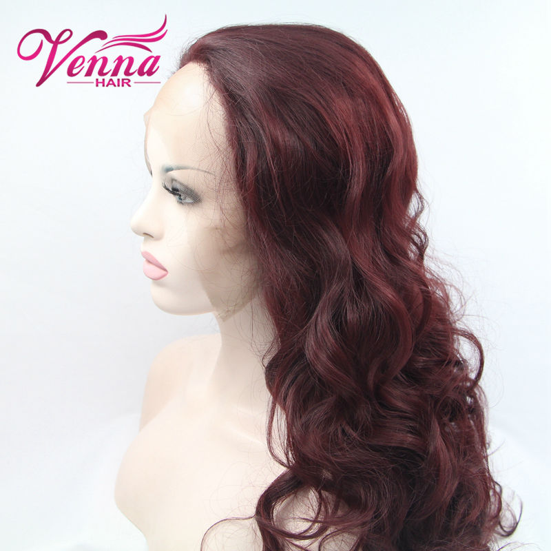 FREE SHIPPING heat resistant hair glueless bodywave 99j burgundy red Synthetic Front Lace wig/# 99j for black women<br><br>Aliexpress