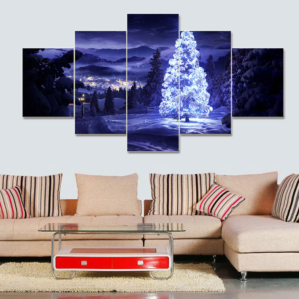 5 Pieces/set Modern Home Decoration Christmas Aesthetic moving LED Tree Picture Painting Print On Canvas Painting(China (Mainland))