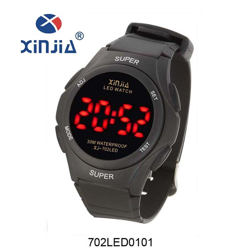 XINJIA 30M Waterproof Fashion LED Red Font Display Men Sports Watches Outdoor Military Dress Wristwatches Relogios 702LED(China (Mainland))