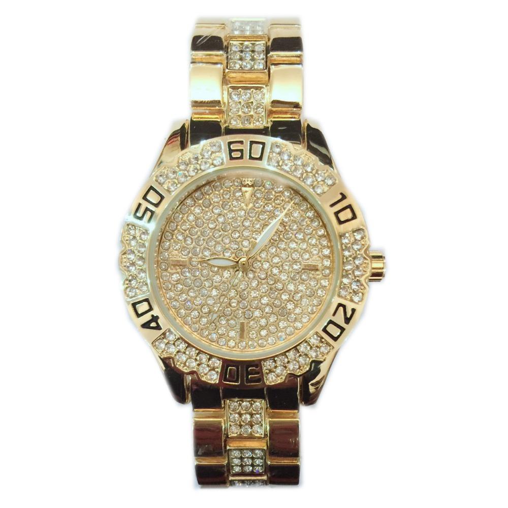 Men Luxury Gold Watch Famous Bs Brand Full Diamond Bracelet Watch Hot Sale  Lover 14k Austrian
