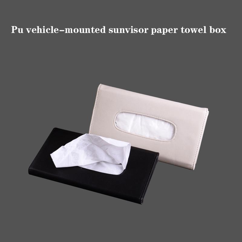 Convenient Durable Auto Accessory Paper Napkin Holder PU Leather Clip Car Sun Visor Tissue Box New(China (Mainland))