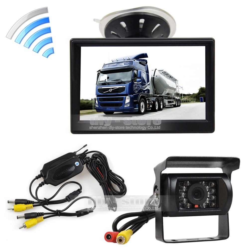 Wireless Waterproof CCD Reverse Backup Car Truck Camera IR Night Vision + 5 inch LCD Display Rear View Monitor - HKDIY Store store