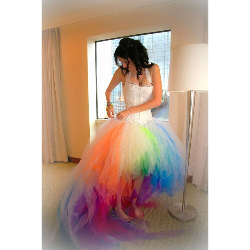 Vestido De Novia 2016 Colorful Rainbow Wedding Dress Sexy Halter Colored Short Front Long Back