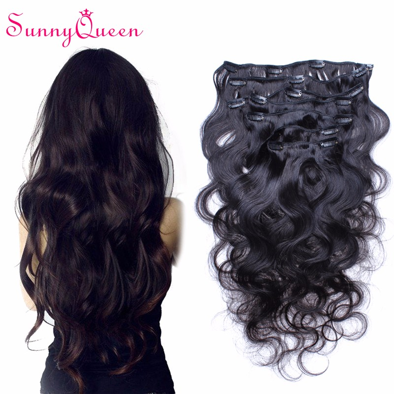 African American Clip in Human Hair Extensions 6A Cambodian Body Wave Clip In Hair Extension 7pc/set Virgin Hair Clip Ins