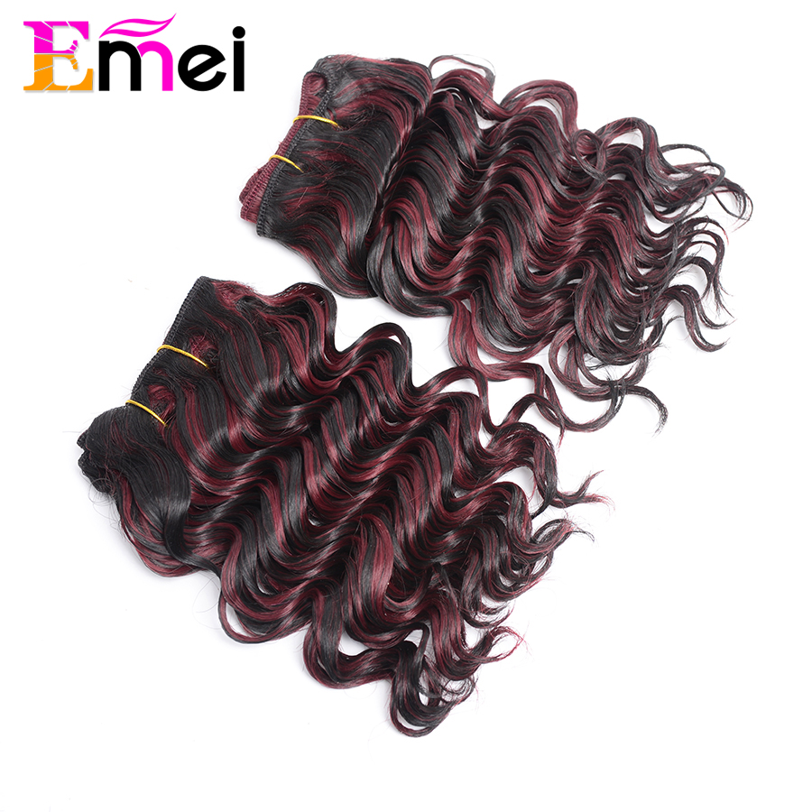 Emei Collection Deep Wave Synthetic Hair Extension Deep Curly Cheap Synthetic Weave 10inch Color F1B/Bur Flat Iron Free Shipping(China (Mainland))