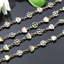 wholesale Heart 5mm, small Yang flower 4MM antique bronze necklace chain, brass jewelry chain, fashion long link chain(China (Mainland))