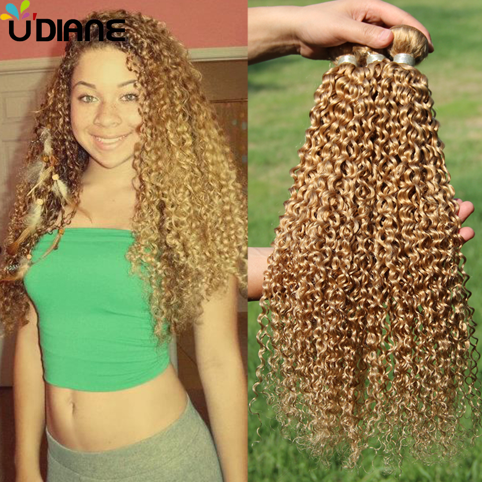 3PCS Blonde Peruvian Curly Hair Extensions Remy Blonde Curly Human Hair Weave Strawberry Color 27 Long Blonde Wavy Hair 7JC22(China (Mainland))