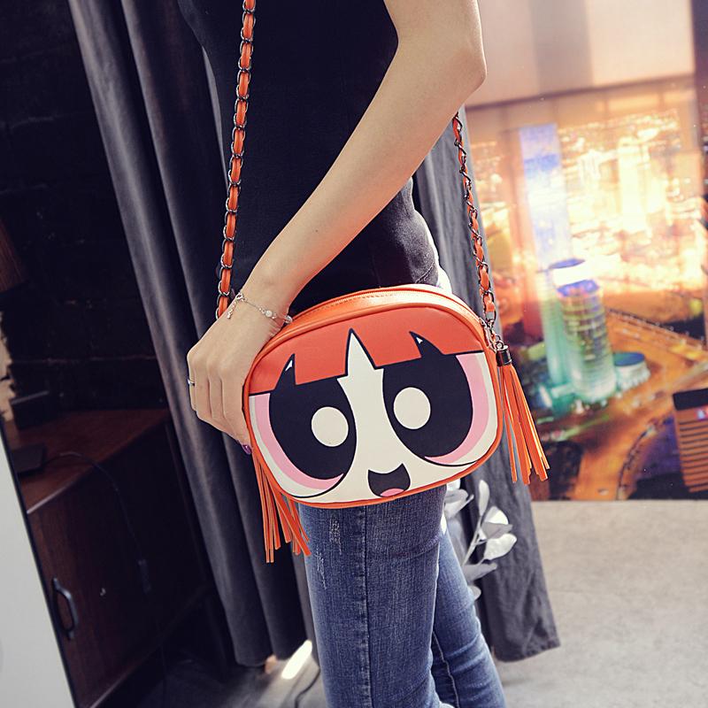 2016 Cute cartoon pattern fashion design Powerpuff Girls tassel chain shoulder bag ladies handbag messenger bag flap purse(China (Mainland))