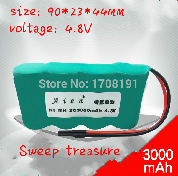 With Plug SC3000 NIMH Battery Pack 4.8V 3000mAh SC NI-MH Rechargeable Battery For Sweep treasure FM-005 FM-007 Free Shipping(China (Mainland))