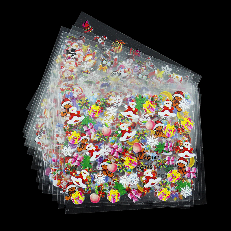 24 Designs/Lot Beauty Christmas Style Nail Stickers 3D Nail Art Decotations Glitter Manicure Diy Tools For Charms Nails JH159(China (Mainland))