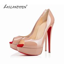 LOSLANDIFEN spring and summer new Patent leather bow peep toe women sandals color block platform high heels shoes pumps817-16RB(China (Mainland))
