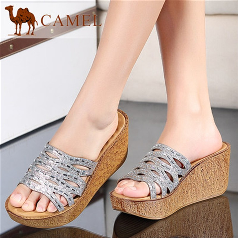 Hot Sale Brand Camel Summer Exquisite Fashion Waterproof Gerrit Hollow Peep-toe Slope High Thick Heel Leisure Women Slippers<br>