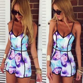 Самые продаваемые 2015 печать v-образным вырезом сексуальные женщины одеваются мода фиолетовый летом носить печать мини-платье свободного покроя платье