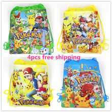 4pcs cartoon Pokemon Go party decoration backpack school pen pencil bag birthday gift mochila drawstring bag for kids girls boys(China (Mainland))