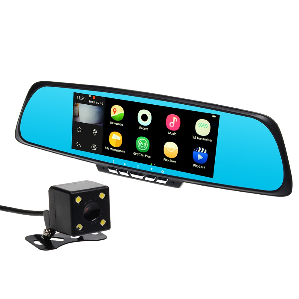 "7"" Touch Screen RAM 1GB ROM 16GB 2 Split View Android GPS Navigation Mirror Dual Lens Camera Car DVR WiFi FM Transmit Free Maps(China (Mainland))"