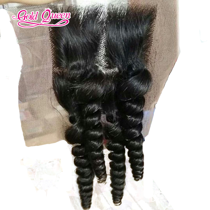 Hot sale lace front closure 4X4 human hair closure 10-24inch bouncy curly middle part hand made closure with baby hair <br>
