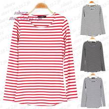 4 Colors Women's Leisure O-Neck Shirt Striped Long Sleeve Shirts Tops Tees for women Woman Autumn Winter T-shirts Underwear(China (Mainland))