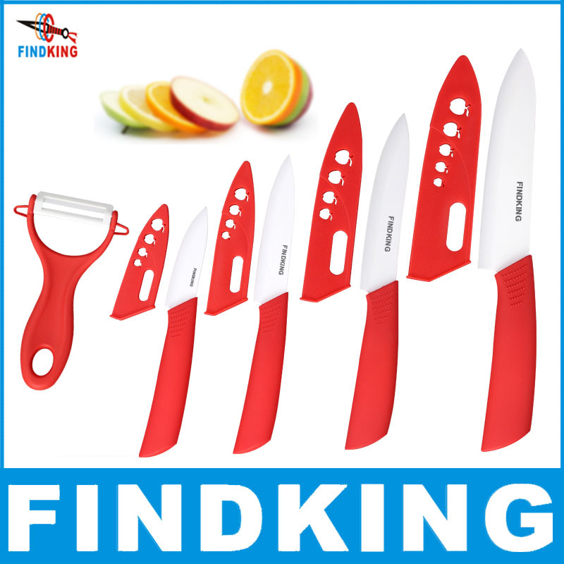 """FINDKING Brand top quality Beauty Gifts Zirconia kitchen knife set Ceramic Knife 3"""" 4"""" 5"""" 6"""" inch+ Peeler+Covers fruit knife set(China (Mainland))"""