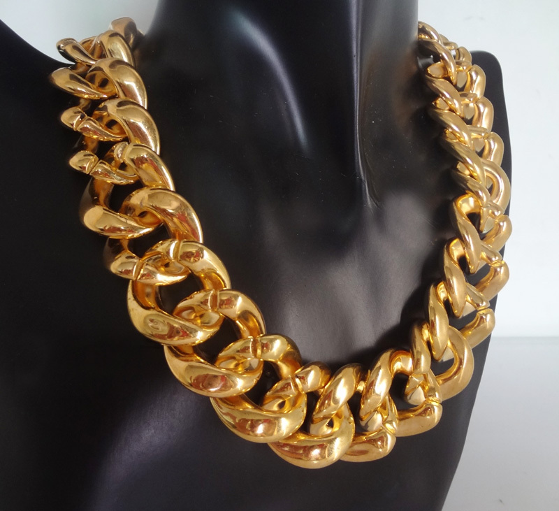 [Mix 15USD]2013Newest 18inch European Shiny Cut Light weight CCB plastic Gold Plated Chunky Curb Chain Necklace
