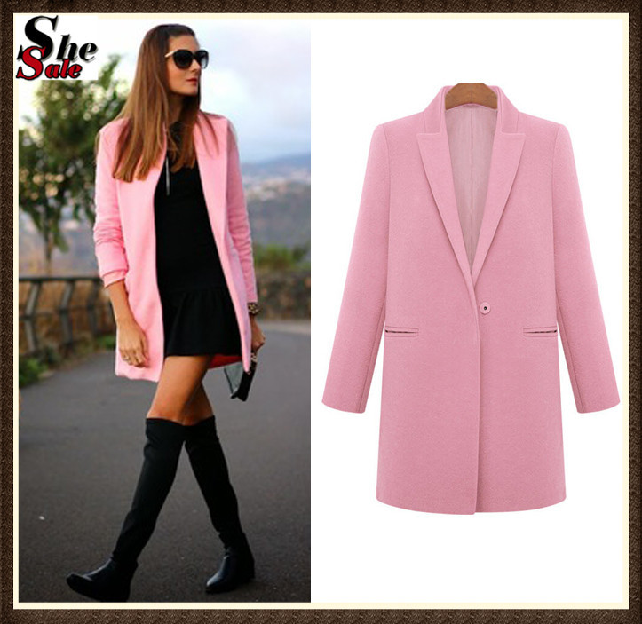 Women Coats Winter Fashion 2015 Autumn Casual European Style Desigual Hot Sale Pink Lapel Long Sleeve Pockets Woolen Coat(China (Mainland))