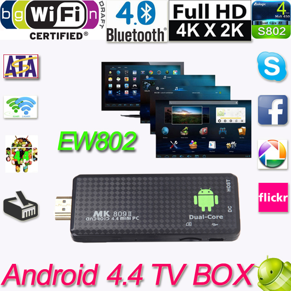HDMI MK809II Bluetooth Android 4.4 TV Dongle Stick Media Player Mini PC Dual Core RK3066 1G/8G Wifi XBMC EU/US Plug(China (Mainland))