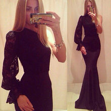 Women Sexy Mermaid Lace Bodycon Party Cocktail Maix Long Dress Gown(China (Mainland))