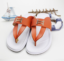2015 New fashion brand men sandy beach genuine leather shoes male casual flip flops surf swim