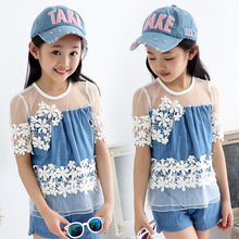 2016 Summer Girls Denim Shorts Set Fashion Denim Vest Sets Short-sleeved Two Pieces Suit Cotton Lace Suit For 6 to 16 Girls(China (Mainland))