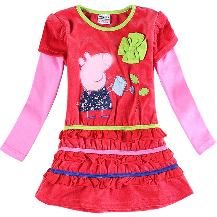 wholesale baby girl dress long sleeve embroidery cartoon fashion kids dresses for girl party dresses o neck children clothes<br><br>Aliexpress