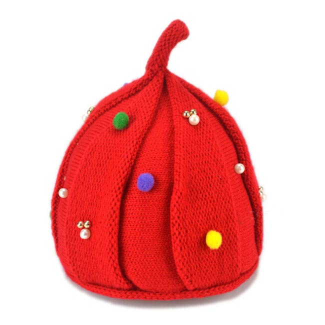 Retail Unisex Baby Pointy Top Knitted Bead Twist Beanies Candy Color Hats Child Kid Winter Warm Add Velvet Cap Skullcap MZ3158(China (Mainland))