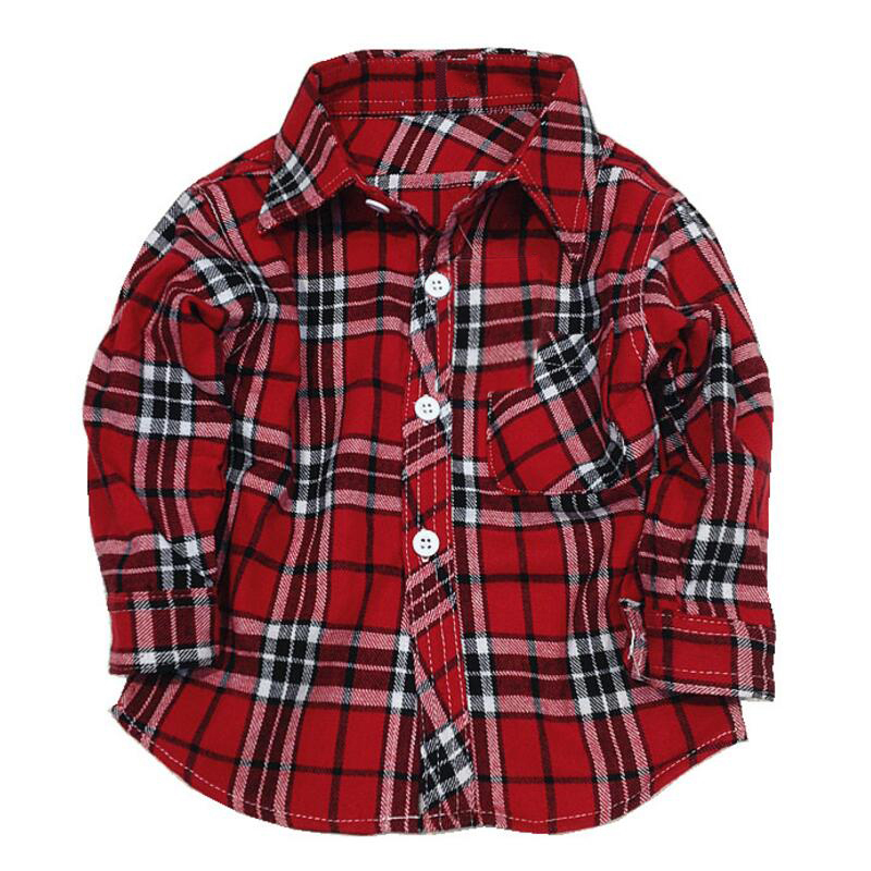 1 2 3 4 5 years long sleeve boys dress shirts children's plaid checkered shirts toddler boy girl Clothing checked shirt flannel(China (Mainland))