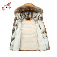 Natural Rabbit Fur Liner Woman Man Couple Down Parkas ,2017 New Fur Hooded Thick Cotton Coat ,Super Warm Winter Jackets(China (Mainland))