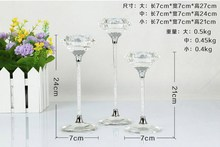 Set of 3 pcs clear crystal candle holder with crystal stem for home decoration wedding gift(China (Mainland))
