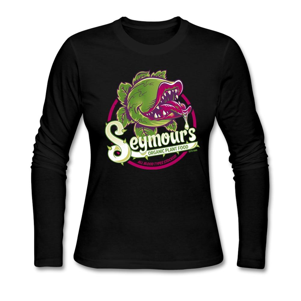 pop music Seymour's Organic Plant Food t-shirt zone for woman Long Sleeve Screw Neck woman tshirt Fabric 80s Clothing(China (Mainland))