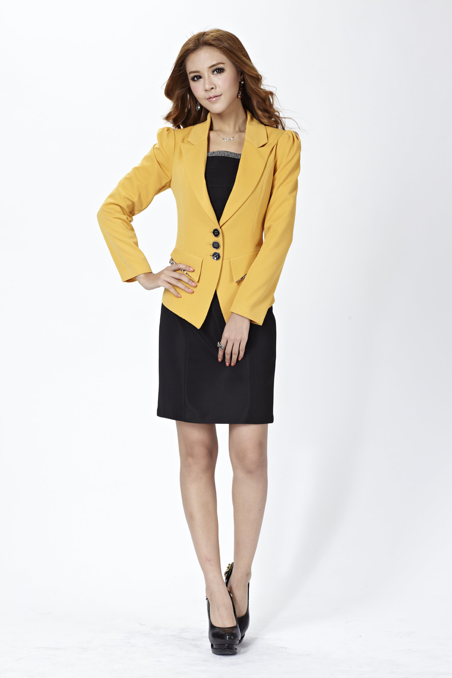 Find a selection of women's dress suits to easily transition from the cube to off the clock. Gear up in a collarless lace jacket with a matching dress for the day and head out in the same outfit for the evening.