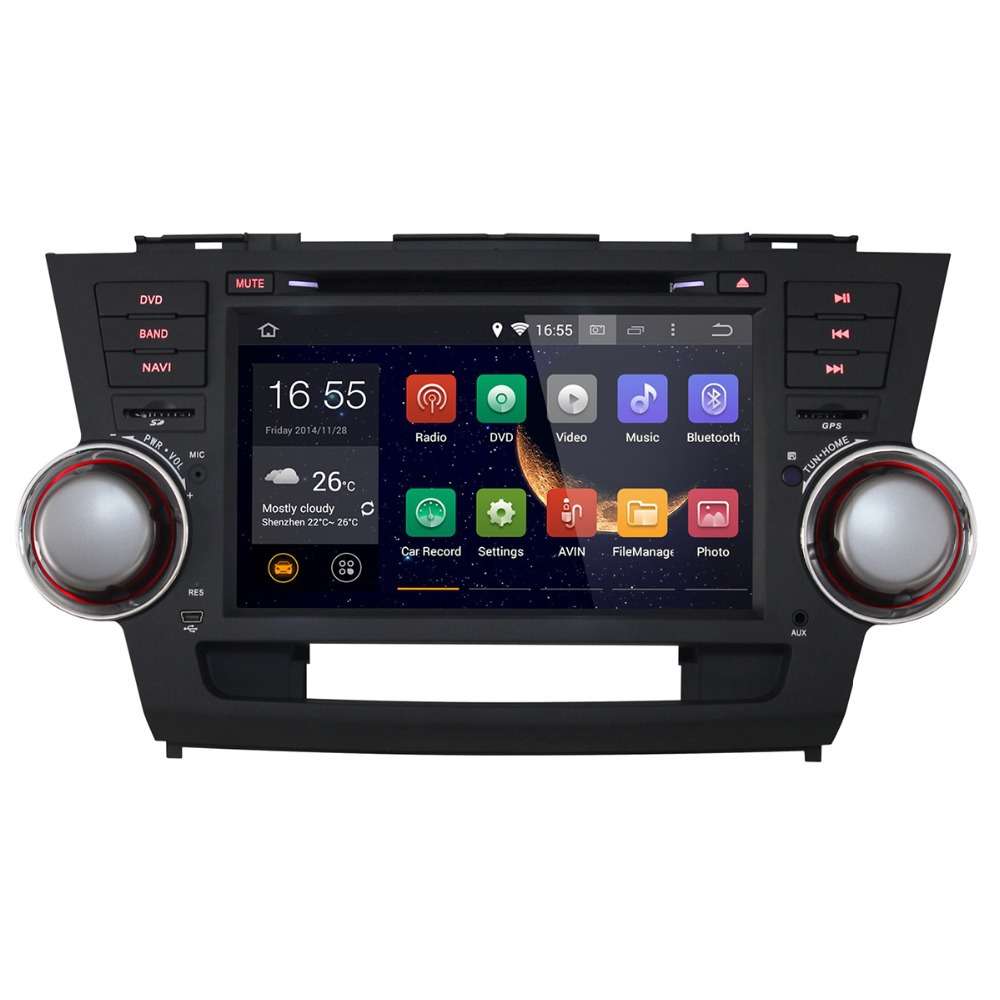 1 year warranty+hot sale+wholesale/retail+2008-2011 Toyota Highlander+2 din android 4.4 car dvd gps+8 inch+ Capacitive Touch(China (Mainland))