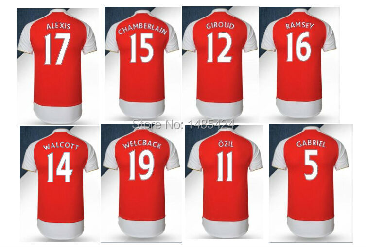 new 2015 2016 15 16 cheap most sale Ozil Alexis Welbeck camiseta man soccer jersey football custom name home away(China (Mainland))