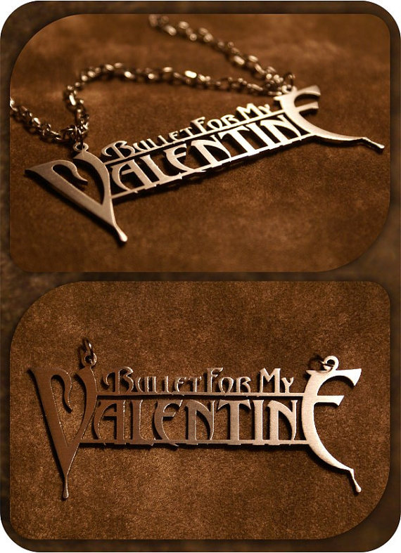 Free Shipping 2015 New Fashion Rock Band Bullet For My Valentine Rock Music Alloy Pendant Stainless Steel Necklace(China (Mainland))