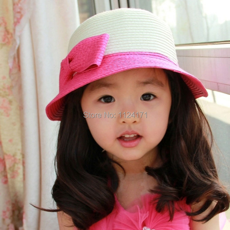 Fashion Summer Baby Girls And Boys Straw Bowknot Sun Hats Kids Floppy Beach Hat Children Collapsible Visor Caps(China (Mainland))
