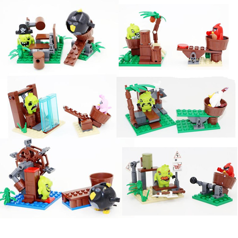 Hot mobile game movie Angried crazy birds locomotive motorcycle building block red bird pig minifigures compatible legoes L588(China (Mainland))