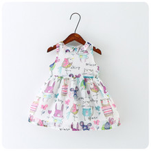 Retail 2016 new summer Children's clothing cartoon animal splicing dress girls' non sleeve graffiti dress