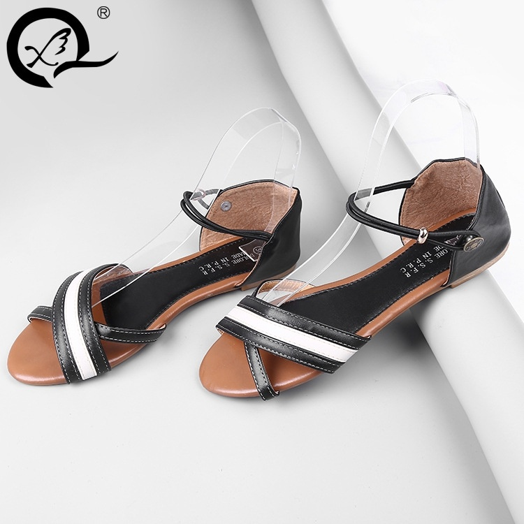 Fashion Leather Sandals Sexy Dew Instep Slides Fish Mouth Word Type Flat Sandals Shoes(China (Mainland))